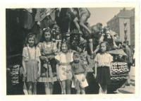 Welcoming Soviet soldiers, Hana first left, Prague Dejvice, 9th May 1945
