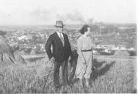Josef and Marie Hnitkovi, witness´s parents in law, on the hill above Kralupy, 1937