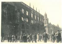 Burnt out part of the Town Hall, Old Town Square, Prague, May 1945