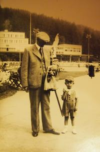With grandfather Valeš in Luhačovice