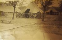 Tents of American soldiers in park in Pilsen, 1945