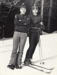 Pavel Bartovský (on the right) on skis