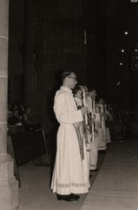 Ludvík Armbruster (at the front) during his ordination, Frankfurt Cathedral, Frankfurt am Main, 1959