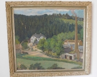 Painting cotton weaving mill in the Firs by the communist regime nationalized the husband's family Miloslav Barton