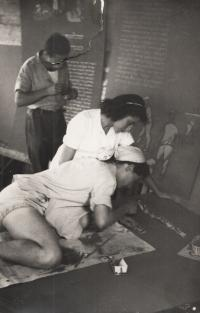 Preparing an exhibition, 1950
