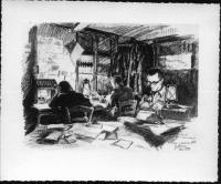 Václav Straka v redakci Našich novin - kresba
