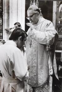 Josef Kajnek during priestly ordination in 1976