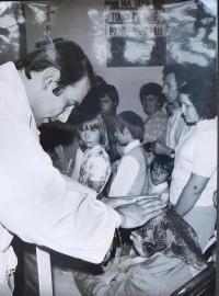 Josef Kajnek during Primic in Kutna Hora in 1976, giving his mother a blessing novokněžské
