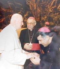 Mons. Josef Kajnek with Pope John Paul II. and Cardinal Miloslav Vlk