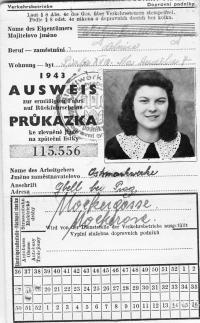 Dagmar Prochazkova, nee Weitzenbauerova as a forced laborer in II. WW, public transport pass