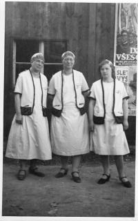 Sokol members before II. WW in sokol costumes, on the left is Marie Weitzenbauerova (mather od Dagmar)