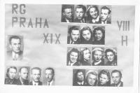Photo of  grammar school graduates in 1945, D. Weitzenbauerová second row from the bottom left