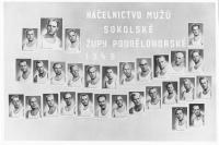 Photo of Sokol members, top right is Vaclav Weizenbauer, there are 11 other men convicted in 1958