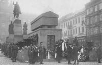 Burial of Alois Jirasek in 1930, Wenceslas Square Prague, between Sokol memebers is Vaclav Weitzenbauer