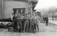 The day of release into civilian life, Prachatice station 1981 (Marek Franěk 4th from the left)