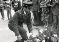 Josef Nitra Taking Part in a Wreath Laying Ceremony (Lviv, 1981)