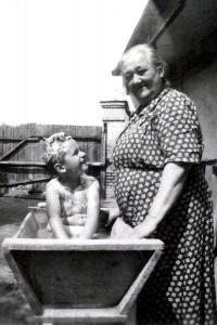 Robert with grandmother, Nové Zámky 1952