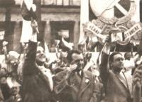 Prof.Krajina with K.Gottwald and P. Drtina, Prague May Day 1946
