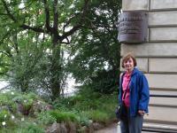 Milena in front of the plaque to honour prof. Krajina, Institute of Botany, Prague 2015