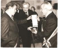 President Havel awarding prof. Krajina the Order of the White Lion, Prague 1990