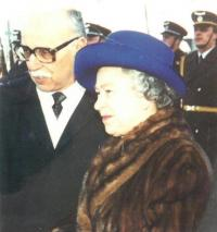 Queen Elizabeth IInd visiting the Czech Republic, 1996. Jan Drabek as the Head of the Protocol accompanying her