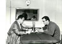 Jan Drabek and Jethro Spencer McIntosh (Jiří Sehnal) at the Radio Free Europe studio, 1962