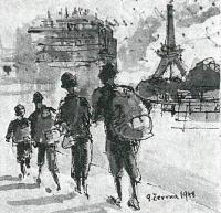 Obraz Jaroslava Drábka zachycující příjezd rodiny do Paříže v květnu 1948 (nakresleno o měsíc později)