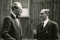 Dr Drábek (left) and dr Kozák, the chairman of the MLS, in Mauthausen, 1946