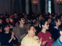 Meeting of the Democratic Trade Union of Scientific Workers (Zsuzsa Gáspár is in the left corner), 1988