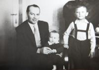 Pavel Bednar with his son Paul and Jirka in 1962
