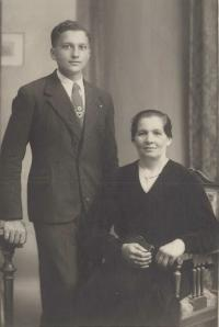 1935 - with his mother as a secondary school student