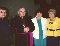 1990 - Rare photo captures the archbishop František Vaňák on a monthly pastoral way for US. On the left side of Petr Esterka, the right side of Anežka Hromková