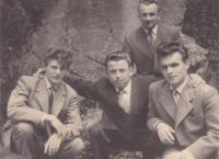 1957 - Petr Esterka (bottom right) and Josef Whack (bottom left) with friends in a refugee camp in Austria