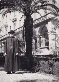 1958 - Peter Esterka in the garden of the college Nepomucenum in Rome