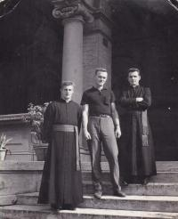 1967 - Petr Esterka (right), Vladimir Whey (in the middle), Josef Whack (left) at the college in Rome. Meeting after ten years from a common escape from Czechoslovakia.