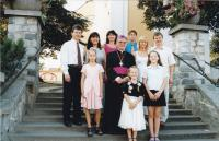 1999 - Petr Esterka and his nephew after the bishop's ordination at the church of st. Wenceslas in the village of Dolní BOjanovice