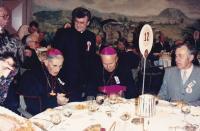 1989 - Rome, Petr Esterka (standing), left to archbishop Francis Vaňák, to the right of the bishop Jaroslav Škarvada