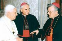 2005 - Ad limina, nov, with pope Benedict XI. and bishop Vojtěch Cikrle. It is interesting that in 2005, Petr Esterka at the spring he met with John Paul II and the fall with Benedict XVI.