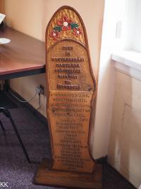 Memorial plaque from the company Csemadok