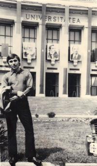 János Kokes, a student at the University of Bucharest, 1974