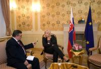 János Kokes with the prime minister of the Slovak Republic, Iveta Radicova, in 2011