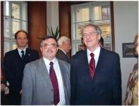 János Kokes with the president of Hungary, Laszlo Solyom, in Prague in 2006