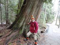 Marketa with a small tree near Mount Whistler, 2014