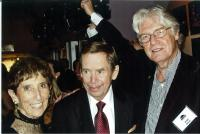 Marketa with Vaclav Havel and Paul Wison, the premiere of the Leaving in Philadelhia