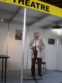 Ivan Havel reading Laudatio for Marketa Goetz-Stankiewicz receiving the Jiří Theiner Prize, Book Fair, Prague 2016