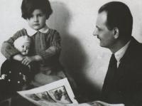 With her father Vilém Nový, 1932