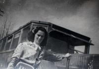 Anita´s mother as a conductor in Kraslicko during WW2