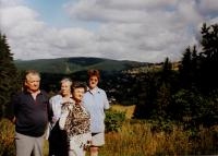 A cousin Ernst Böhm and his wife visiting Bublava - a view of Zelená Hora, Anita´s birthplace (Anita below) in 2003