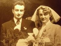 Wedding photo of Olga and Jiří Wanke, 1953