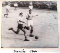 Petr Eisenberg playing football in Terezín, 1944